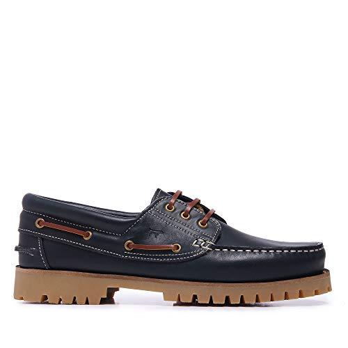 Zapatos Náuticos de Piel con Cierre de Cordones Color Marino - SonCastellanisimos