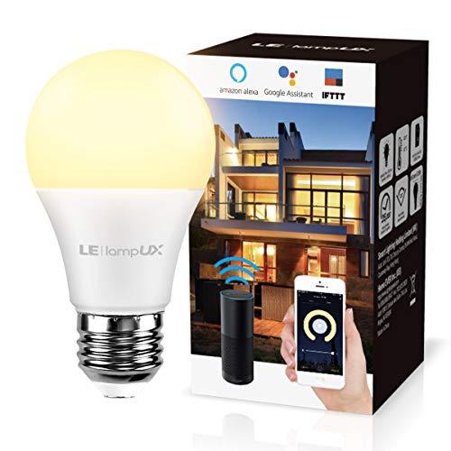 LE Lampadina Intelligente E27 9W Lampadina Smart WiFi Dimmerabile, 850lm Luce Bianca Calda 2700K, Funziona con Alexa Google Assistant/IFTTT Controllo a Distanza da App Smartphone iOS&Android