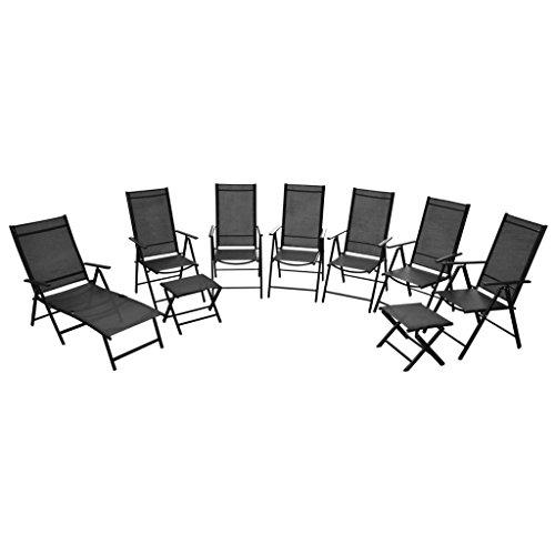 Festnight 9-teiliges Klappbare Gartenmöbel-Set aus Aluminium Gartengarnitur inkl. 1 Sonnenliege, 6 Stühle und 2 Fußschemel Schwarz (Küche Stühle-set Von Zwei)