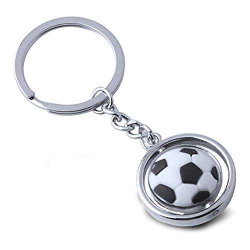 Toymytoy portachiavi pallone da calcio - portachiavi 3d rotante in metallo, portachiavi calcio, regalo di compleanno