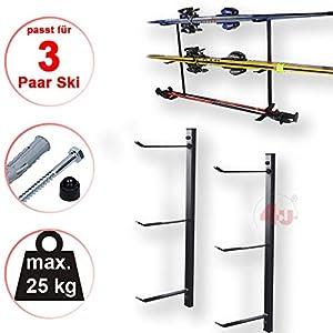 4U® Skihalter Set Skiträger Skistöcke Ski Aufbewahrung Wandhalter Halter für 3 Paar Gerätehalter Wandmontage Skiaufbewahrung