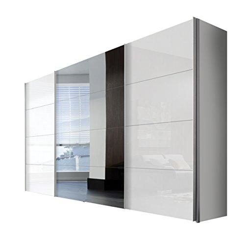Express Möbel 47910-203 Schwebetürenschrank 3-türig, Korpus polarweiß, Front lack weiß, Spiegel, Griffleisten alufarben, 68 x 350 x 216 cm
