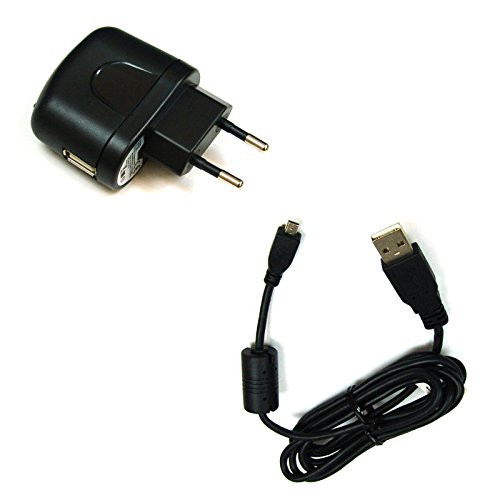 BG de akku24Cargador y cable de carga, cable de datos, cable USB para Fujifilm FinePix JX680, jx695, JX700, JX710, T350, T360, T400, T410, T500, T510, T550, T560, XP200