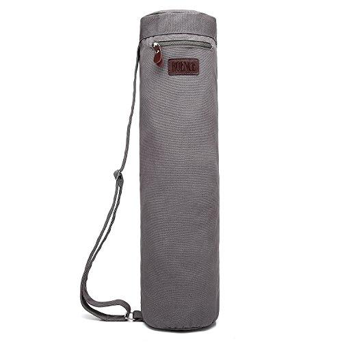Boence Sac pour tapis de yoga Fermeture éclair complète Toile solide, lisse, sangle réglable, grandes poches de rangement fonctionnelles–Compatible avec la plupart des tapis de taille standard, gris clair