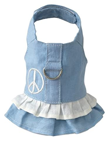 Doggles Hemp Dress Dog Harness with Peace Sign, Blue,