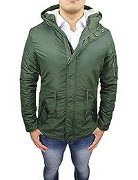 AK collezioni Giaccone Parka Uomo Invernale Casual Verde Militare Slim Fit  Giacca Piumino Invernale con Pelliccia f902f21bb53