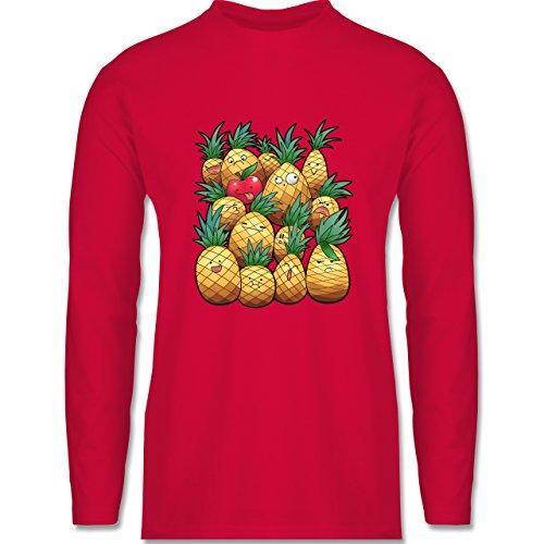 Shirtracer Comic Shirts - Süße Ananas Party - Herren Langarmshirt Rot