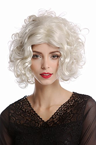 WIG ME UP - 1352-ZA613 Perücke Damen Karneval Halloween Diva Hollywood kurz lockig glatter Mittelscheitel Platin platinblond (Halloween Hollywood Events Für)