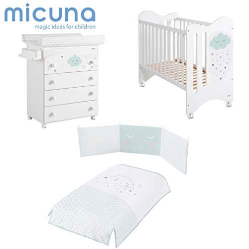 Micuna - Pack Lili: Cuna 120 X 60 Cm. + Bañera + Nórdico + Protector Blanco/Azul