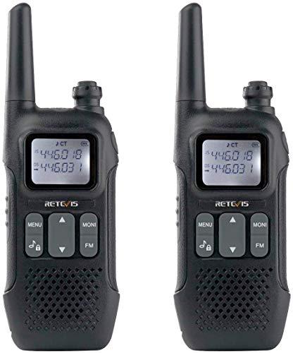 Retevis RT616 Walkie Talkies Modo de Doble Canal Recargable PMR 446 sin Licencia 16 Canales VOX Radio Bidireccional con 10 Tonos de Llamada Linterna LED (Negro, 1 Par)