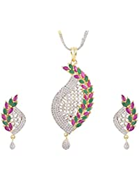 SKN Silver And Golden American Diamond Pendant Set For Women & Girls