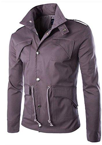 Brinny Herren Slim Fit Military Button Jacken Knopf Mantel Rider Zip Hoodie Grau