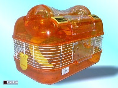 DOUBLE PLAY WHEEL SPACE PROBE HAMSTER CAGE - AMBER 2
