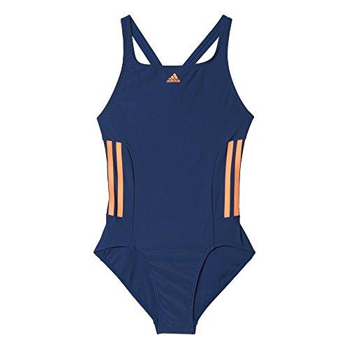 adidas Mädchen Infinitex 3-Streifen Badeanzug, Mystery Blue/Glow Orange, 140