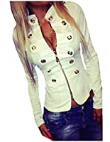 SportsX Women Fashion Zipper Solid Color Stand-up Collar Short Blazer White L