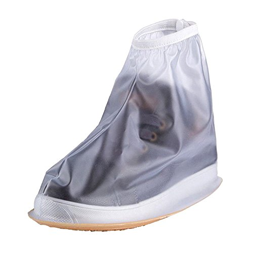 XXL , Clear : Adults Mens Womens Reusable Waterproof Flat Anti-Slip Rain Shoes Cover Overshoes Rain Boots Galoshes
