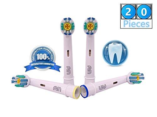 Flm 3d white/pro bright eb18-4 - testine di ricambio per spazzolino elettrico compatibili con braun oral b, 20 ricambi