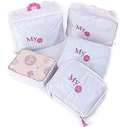 Shopper Joy Conjunto de 5 Bolsas de Equipaje Organizadores para Maleta Cubos de Embalaje para Viaje Vacaciones - Gris