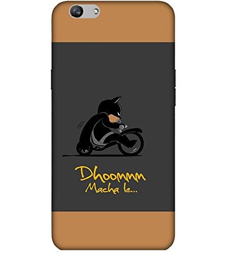 Takkloo Dhoom macha le ( Bat in Black, Super hero on black bike, man wearing black mask, Cartoon, Grey Background) Printed Designer Back Case Cover for Vivo V5 Plus :: V5 Plus Vivo  available at amazon for Rs.399
