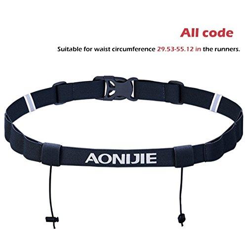 Triwonder Cintura da gara numero corridori con 6 loop per triathlon, maratona, corsa, ciclismo (Nero)