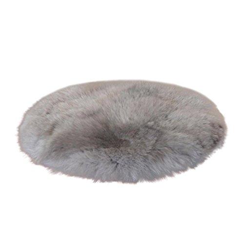 Kunstpelz-Teppiche aus Schafshaut, flauschig, weich, haarig, rund. Teppich Stuhlbezug, Anti-Rutsch Sitzpolster, Kunstwolle, warme Anti-Rutschmatten, grau, 30 cm