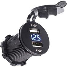 TurnRaise Impermeable 2 USB Puertos Cargador Adaptador de Coches Vehículo Barco con LED Voltímetro Display para Apple iPhone iPad, Samsung, HTC etc (Azul)