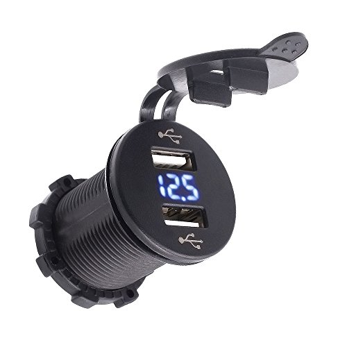 Samoleus Portátil impermeable azul LED 12-24V coche motocicleta Marina RV cigarrillo encendedor doble USB poder adaptador cargador enchufe con indicación de la tensión (Blue)
