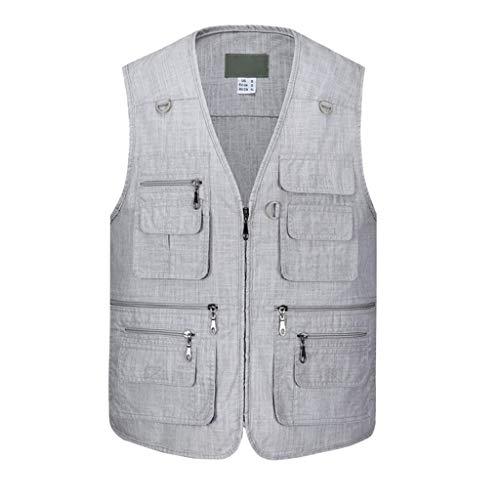 Angeln Weste,Multi Pockets Dünn Atmungsaktivität Vest Baumwolle Gilet Outdoor Männer Ä