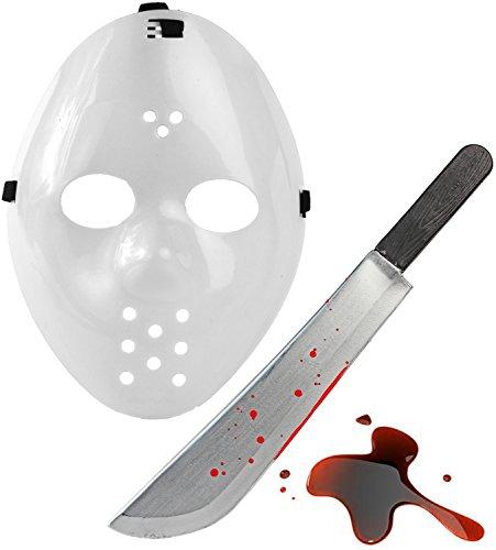 Karneval und Helloween Splatter Set - Jason Maske Weiss + Blut (Krieger Für Weißer Maske Erwachsene)