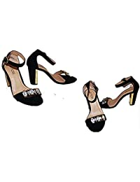 5503749547765 Fiore Ladies Black Crystal Embellished Suede & Gold Block Heel Sandal Shoes  in Size UK 4