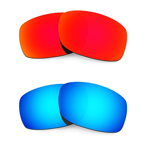HKUCO Plus Mens Replacement Lenses For Oakley Fives Squared Sunglasses Red/Blue Polarized