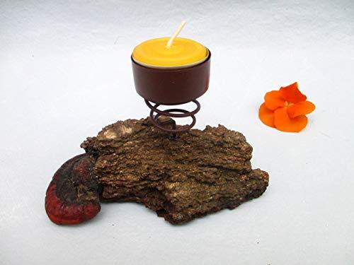 Treibholz Teelicht-Halter Metall, Treibholz-Deko, Tisch-Deko, Wohn-Deko, Schwemmholz Teelicht-Ständer, Kerzen-Halter, Kerzenständer, Wohn-Accessoire ca. 15 x 8 x 9 cm, Handarbeit -