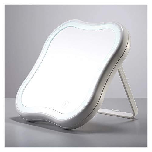 Jjyp luci specchio cosmetico ingrandente - 5x specchio ingranditore led, rotazione 180 °, specchio cosmetico laterale con luci led, rotazione trucco da viaggio lampada da tavolo pieghevole-green