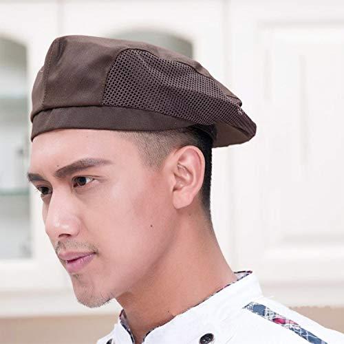 JIAHG Damen Herren Kochmütze Baskenmütze Mesh Kochen Bäcker Mütze Hut Cap Kappe Schiebemütze Koch Arbeitskleidung chef hat - 2