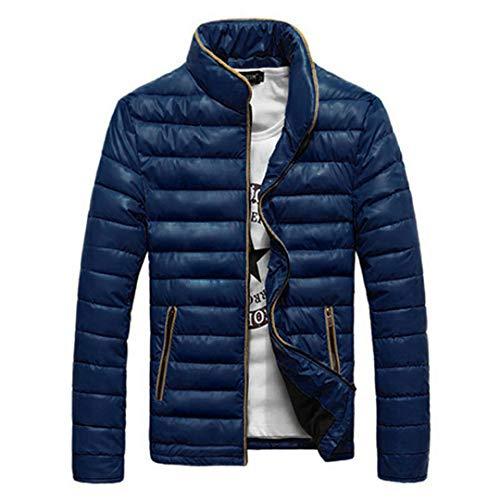 BGFHDLWESR Herbst Winter MäNner Mantel Mode Parka Mantel Stehkragen Warme Jacke 4 Feste Farben Asiatische GrößE Dark Blue XXL
