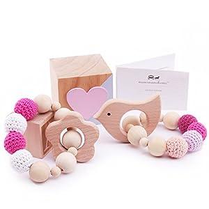 Mamimami Home Baby-Zahnbürste-Baby-Armband Naturholz-Zahnen-Ring-Krankenpflege-Häkelarbeit-Korne Babyspielwaren-Geklapper-Zettel-Spielzeug