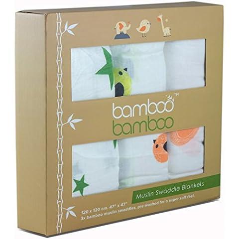 Premium bambù organico per ricezione coperte multiuso 3Pack | 120× 120cm grande per bambini lenzuola | morbido in bambù, regalo perfetto