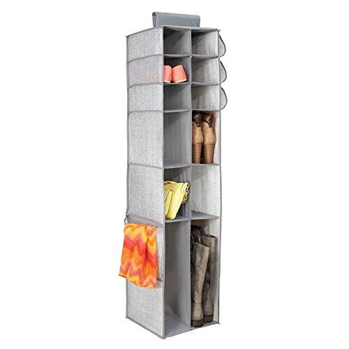 Mdesign organizer guardaroba in tessuto – ideale armadietto pensile con 16 scomparti – perfetto anche come cassettiera salvaspazio per l'ingresso per riporre oggetti e tessuti – grigio