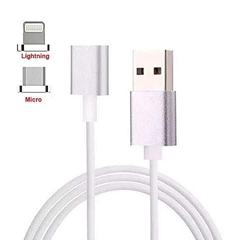 TOFOCO 2-in-1 Magnetisches Ladekabel 3.3ft Lightning und Micro USB Adapter Charge Sync Aufladenkabel für iPhone / iPad / Android
