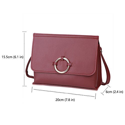 Minimalista Design Crossbody Bag con Cinturino Regolabile (Staccabile), Vegan in Pelle Mini Flap Borsa a Tracolla con Cerchio in Metallo per la Moda Femminile-Nero Rosso