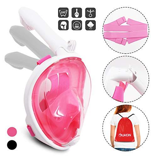 UKON Maschera Subacquea, Snorkeling Maschera Full Face 180 ¡ã Visualizza Design panoramico, Anti-Fogging Anti-Leak per Donna Bambino Adulto (Rosa Bianco, XS)