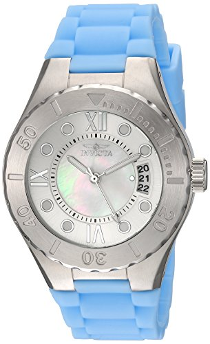 Invicta Women's 'Angel' Quartz Stainless Steel and Silicone Casual Watch, Color:Blue (Model: 19392)