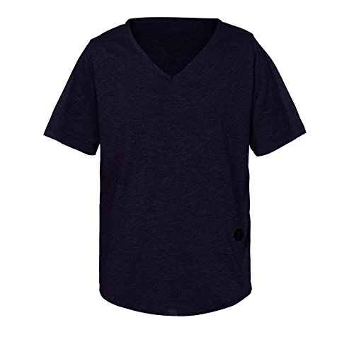 VEMOW Sommer Männer Mode Täglichen Außerhalb T-Shirt Slim Fit V-Ausschnitt Kurzarm Muscle Cotton Casual Tops Bluse Shirts Pullover(Marine, EU-58/CN-3XL)