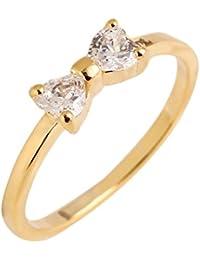3ac8d1bdd8c6 Billty Anillo de mujer dorado dulce anillo de lazo coreano estilo circonita  anillo dos diamante 1