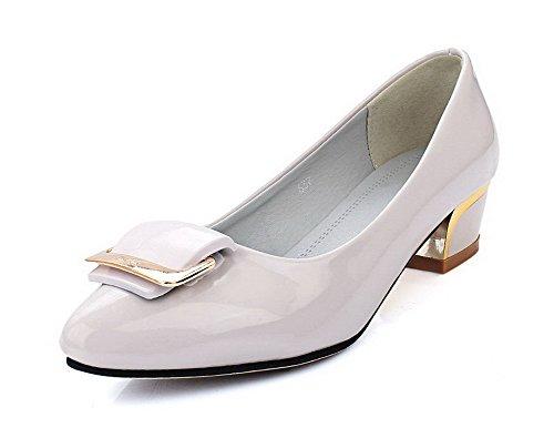 AllhqFashion Femme Pu Cuir à Talon Bas Pointu Mosaïque Tire Chaussures Légeres Gris