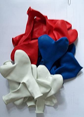 100Ballons Cœur Bleu Rouge Blanc États-Unis Grand britanien