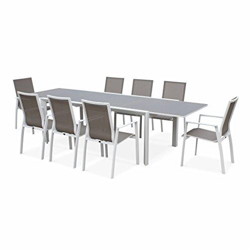 Alice's Garden - Salon de jardin table extensible - Washington Taupe - Table en aluminium 200/300cm, plateau en verre dépoli, rallonge et 8 fauteuils en textilène