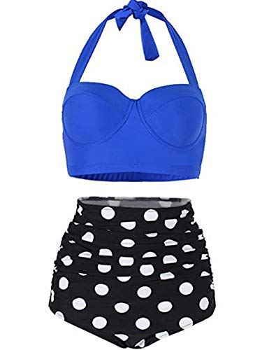 FeelinGirl Damen Bikini Set Bademoden Frauen Push-up Gepolsterten BH Beach Women Badeanzug M Blau