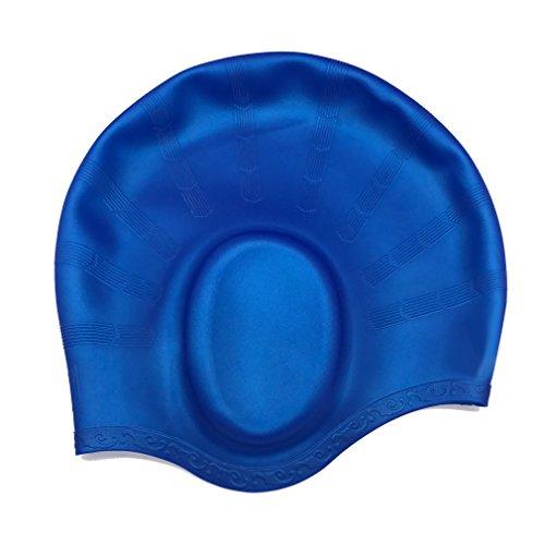 Badekappe mit Ohr Taschen, kingzuo Direct Silikon Schwimmen Hut für lange Hair hält das Haar Dry wasserdicht UV-Schutz Große Kopf Damen und Herren Jungen Mädchen Erwachsene Junioren Kinder, blau