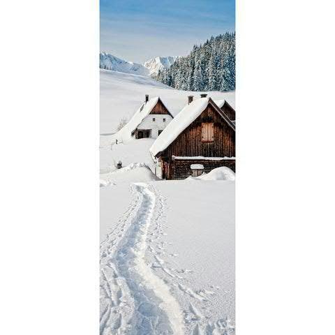 Textilbanner - Thema: Weihnachten - Hütten im Schnee - 180cmx75cm - Banner zum Hängen & Dekorieren